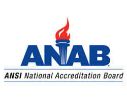 The ANSI National Accredition Board - ANAB- logo.