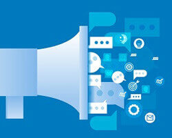 A blue illustration of a megaphone with many communication or announcement icons coming out of it.