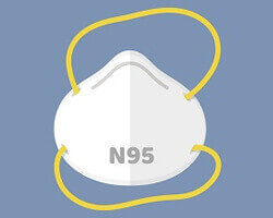 An illustration of an N95 protective face mask.