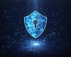An illustration of blue cyber patterns and a shield with a keyhole in it.