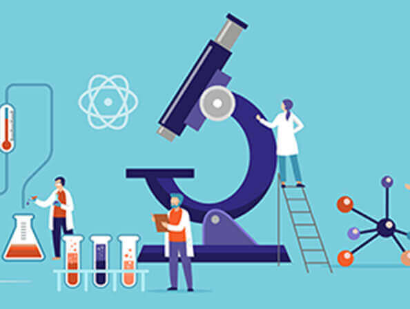 Illustration of a microscope and lab work.