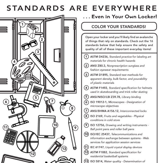 A black-and-white coloring-sheet version of an illustration of a student's school locker with all kinds of stuff tumbling out of it and a key indicating where standards can be found in the scene.