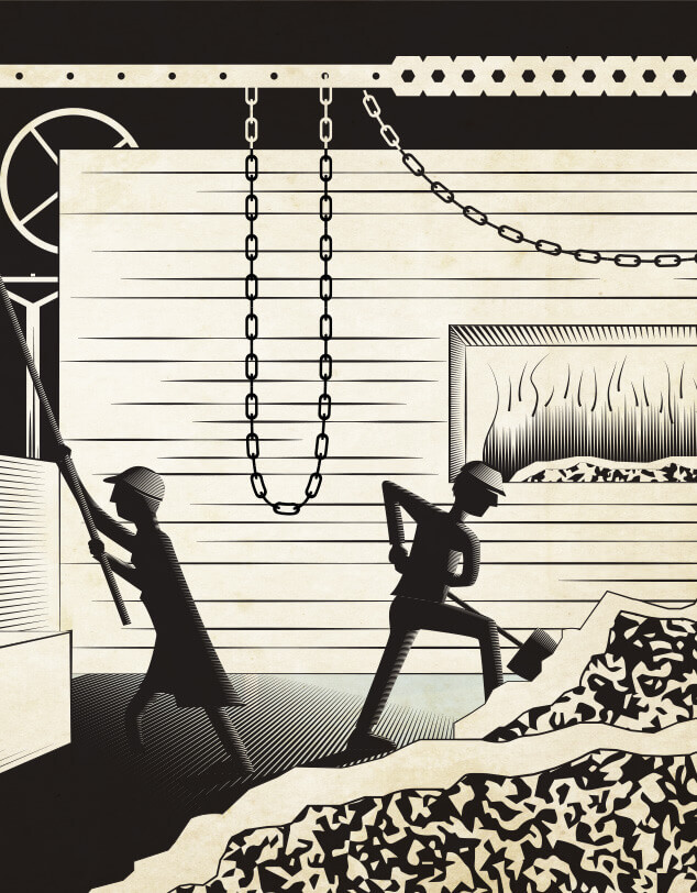 An illustration of industrial workers in a mine, indicating the 1930s time period.