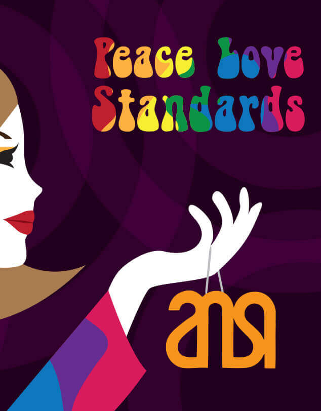 """An illustration of a woman with the words """"Peace, Love, Standards"""" in rainbow type and an old ANSI logo, indicating the 1960s time period."""