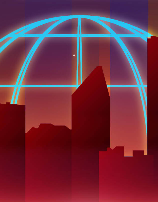 An abstract image of a city silhouette against a neon globe icon, indicating the 1980s time period.