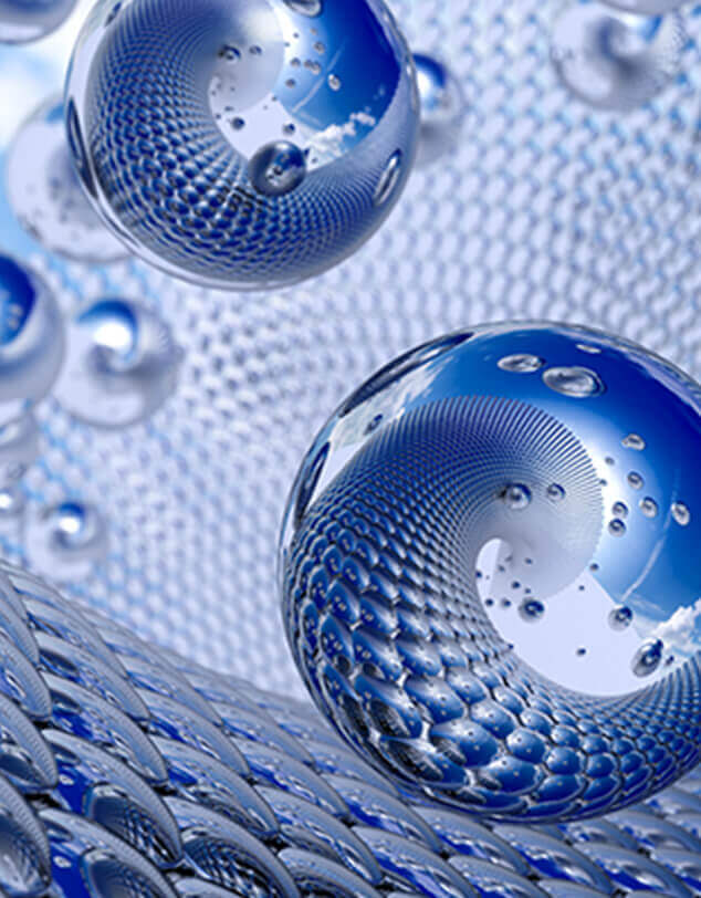 A representation of microscopic nano-materials in spherical and mesh structures.
