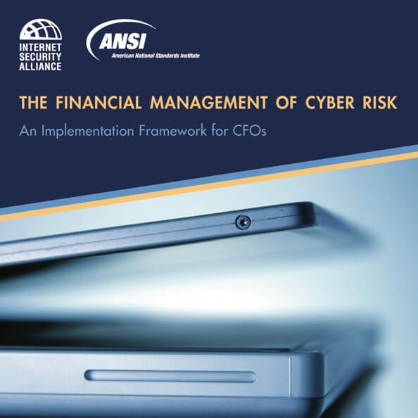 "The cover image of ""The Financial Management of Cyber Risk"" featuring a laptop computer slightly ajar."