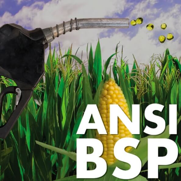 ANSI BSP logo featuring a biofuel nozzle dispenser and a corn field.