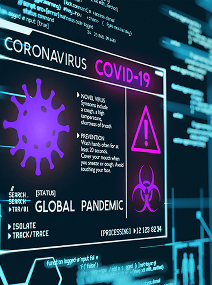 A digital screen showing Covid-19 information and icons.